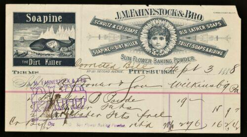 1888 SOAPINE Soap J. M. Fahnestock & Bro Pittsburgh Billhead