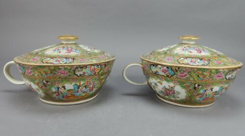 Pair of Antique Chinese Rose Medallion Chamber Pots 12 inches