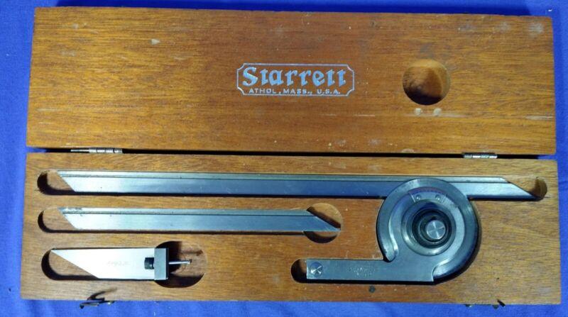 STARRETT PROTRACTOR NO. 359 WITH ORIGINAL WOODEN BOX