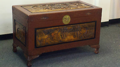 Hand Carved Large Chinese Camphor Wood Trunk Chest Vintage Oriental Furniture