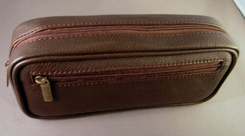 CLOSEOUT - Quality DARK BROWN leather pipe tobacco pouch / case
