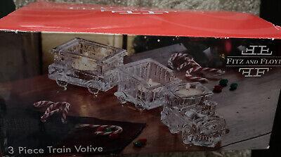 Fitz & Floyd Christmas Holiday Train Crystal Train Votive - 3 piece Set