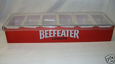BEEFEATER ENGLISH GIN - 6 COMPARTMENT METAL CONDIMENT CADDY TRAY *NEW*