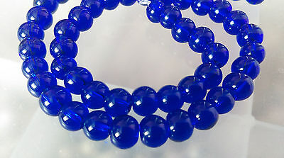 6mm Round Glass Beads Strands, Royal Blue approx 50 pcs/strand jewellery making