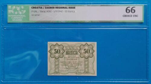 Yugoslavia, Croatia; 50 banica 1942, Zagreb city money,WWII, ICG UNC 66(SCARCE!)
