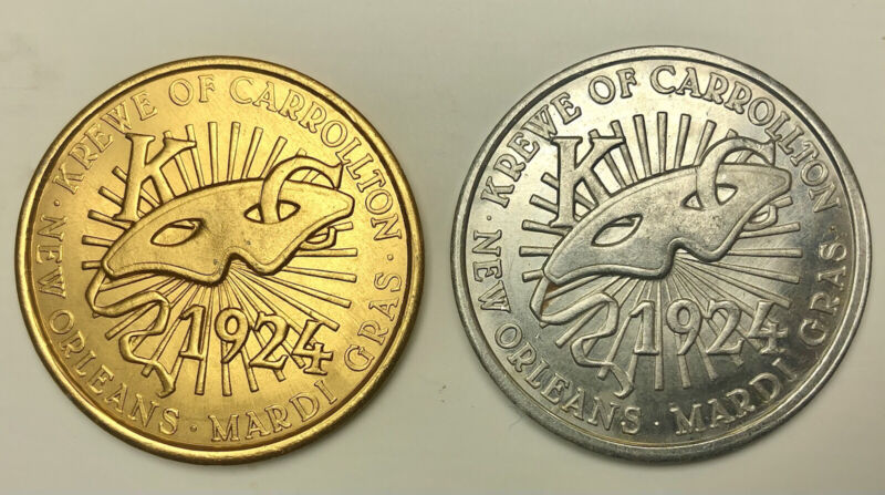 """1969 Krewe of Carrollton Doubloons """"The Sciences"""" Beautiful Silver & Gold!"""