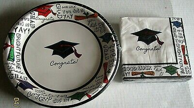 Graduation Plates And Napkins (GRADUATION Paper Plates and Napkins 18 Plates and 36 Napkins YOU DID)
