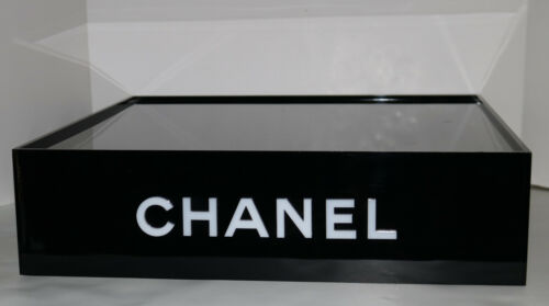 CHANEL black lucite store display sign stand tray box