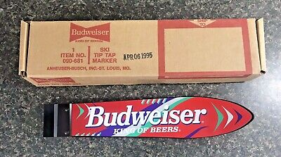 "Vintage BUDWEISER King Of Beers Snow Ski Tip Tap Marker Handle 14"" w/ Box NOS"