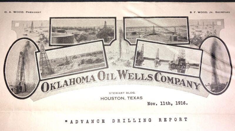 Rare 1916 Oklahoma Oil Well Co Letterhead Houston Texas Drilling Mining Int