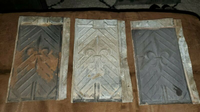 "LOT OF 3 VINTAGE TIN ROOF SHINGLES-FLEUR-DE-LIS DESIGN ~10-1/8"" x 6-1/4"" SALVAGE"