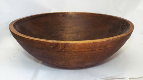 "EXTRA LARGE 20"" Old Antique WOODEN DOUGH BREAD BOWL Primitive"