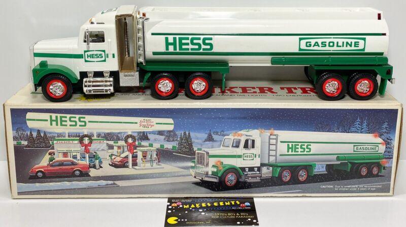 1990 Vintage Hess Toy Tanker Truck Original Packaging Horn, Back Up Alarm,Lights