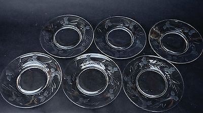 Lead Crystal Plate - Set of Six 6 Vintage Cut Etched Glass Lead Crystal Plate Dishes  8