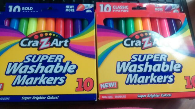 CRA-Z-ART SUPER WASHABLE MARKERS - CLASSIC AND BOLD COLOURS - 2 SETS OF 10