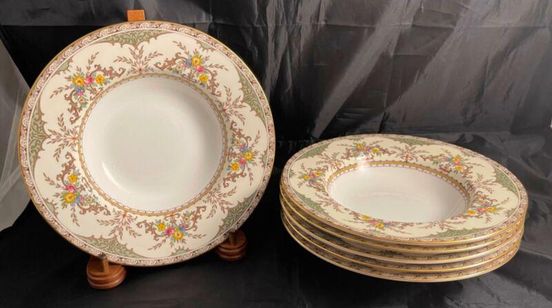 Vintage Set of 6 Minton CHATHAM GREEN IVORY Rim Soup Bowls Free Shipping