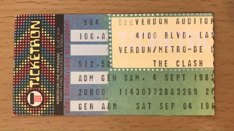 1982 THE CLASH MONTREAL QUEBEC CONCERT TICKET STUB JOE STRUMMER LONDON CALLING