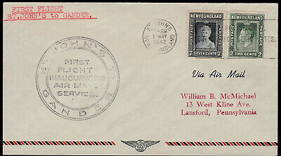 FFC NEWFOUNDLAND - TRANS CAN AIR - AAMC #45 - 1942 - ST. JOHN'S to GANDER, NFLD
