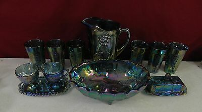 Indiana Glass Blue Carnival Harvest Grape Pitcher Glasses & More