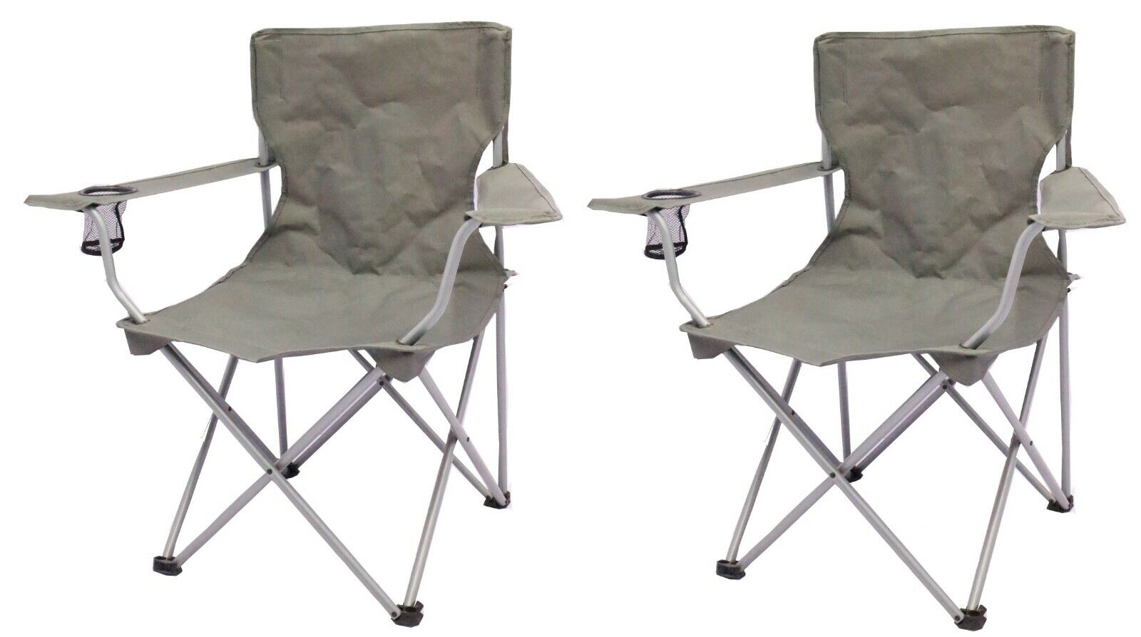 2 Pack Quad Folding Camping Chair Steel Frames One Armrest Gray Outdoor Seat NEW