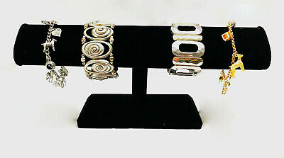 Black Velvet Bracelet Watch T Bar Stand One Tier Sturdy Jewelry Display