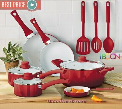NON STICK COOKWARE SET Ceramic Coating RED 12 Pieces Pots Pans Cooking...