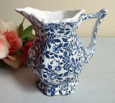 Vtg ceramic creamer pitcher with blue flowers chintz