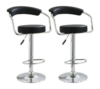 Set of 2 Bar Stools PU Leather Adjustable Height Swivel Dining Room Chair Black 2 Bar Height Stools