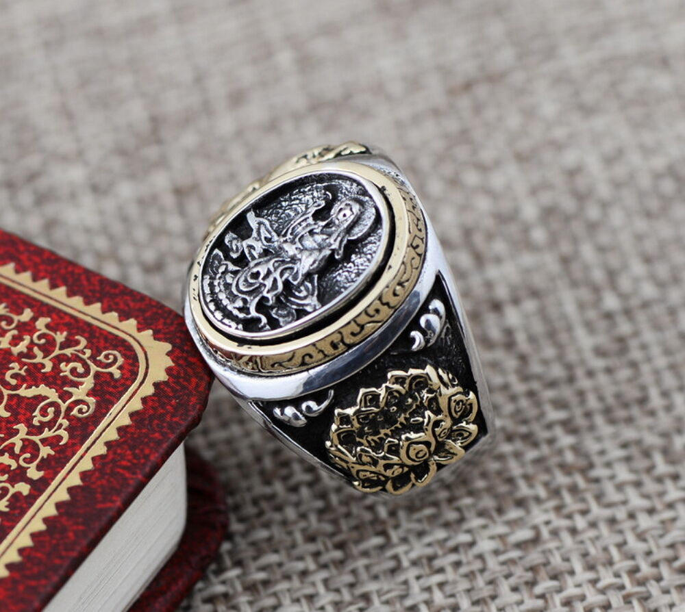 925 Sterling Silver Punk Vintage Buddha Lotus with Design Men Ring Size 8-11.5 Fashion Jewelry
