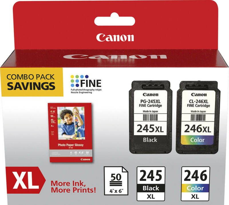 Canon - 245 XL/CL-246XL Combo Pack with GP-502 High-Yield - Pigmented Black/Y...