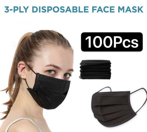 100/50 PCS Black/Blu Face Mask Mouth & Nose Protector Respirator Masks US Seller