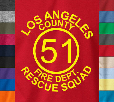 (Emergency! LOS ANGELES RESCUE T-Shirt Squad 51 Firefighter Cali California Tee)