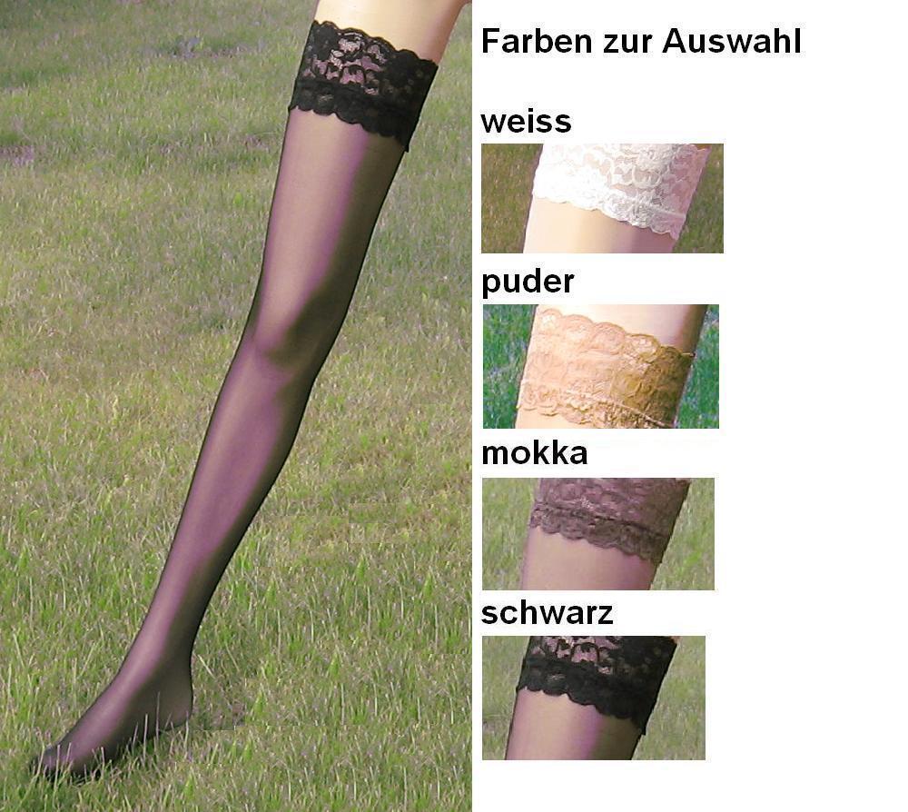 SEIDENGLANZ  halterlose Strümpfe mit edler Spitze, transparent-20den, div.Fbn+Gr