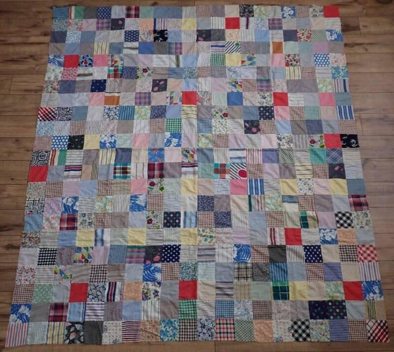 Crisp 1930-1950 Feedsack Vintage One Patch Quilt Top 78x71