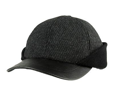 Winter Wool Baseball Cap Hat With Ear Flaps Charcoal Grey LARGE