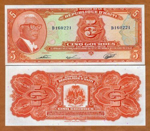 Haiti, 5 Gourdes, L.1979 (1980-1982), P- 232, UNC > François Duvalier