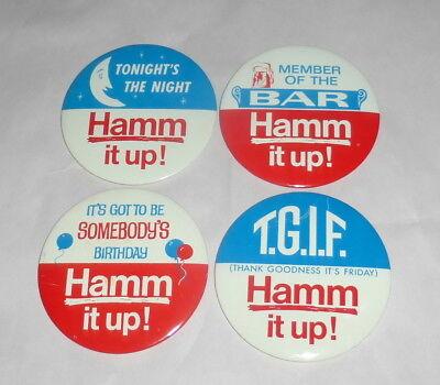 "4 Hamm's Beer 1950's Lrg 4"" Celebration Pin Backs Birthday TGIF BAR Hamm it Up!"