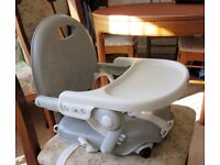 Child's booster dining seat, straps onto chair - for 6 months to 3 years - and some toys