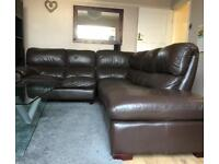 DFS Leather Corner Sofa Dark Brown with Mechanic Armchair (Perfect Condition)