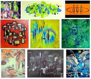 NEW PAINTINGS by Oakville Artist Valerie Koudelka HUGE ART Abstract Impressionist Surrealist Colorful BW BUY CANADIAN!