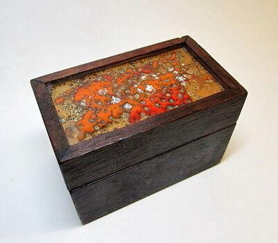 Vtg Abstract Copper Enamel Wood Cache Trinket Box Retro Mid Century 1960s Signed