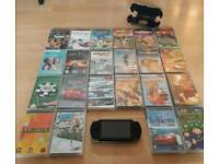 Sony PSP and discs and hard case