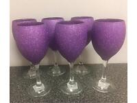 6 purple glitter wine glasses