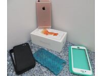 APPLE IPHONE 6S ROSE GOLD UNLOCKED SIM FREE 64GB ORIGINAL BOX & 3 COVERS & EARPHONES