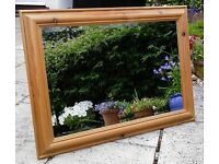 Large Solid Wood - Vintage Knotted Pine Wall Mirror