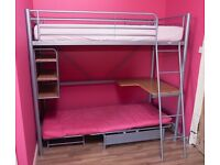 Loft Bed/ Cabin Bed, High Bed with futon fold out bed or seat