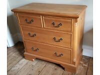 GOOD QUALITY 4 DRAWER FRENCH STYLE WAXED PINE CHEST.