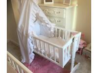 White Swinging Crib with Broderie Anglais Canopy & Bedding