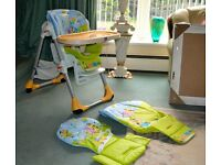 Chicco Polly 2-In-1 Highchair - Excellent Condition - 2 x Extra seat pads inc.