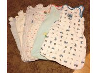 Baby sleeping bags, 0-6 months, in good condition, £1 each.